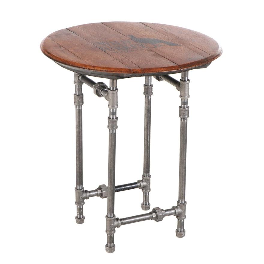 Wild Turkey Boubon Barrel Top Side Table with Adjustable Industrial Pipe Legs