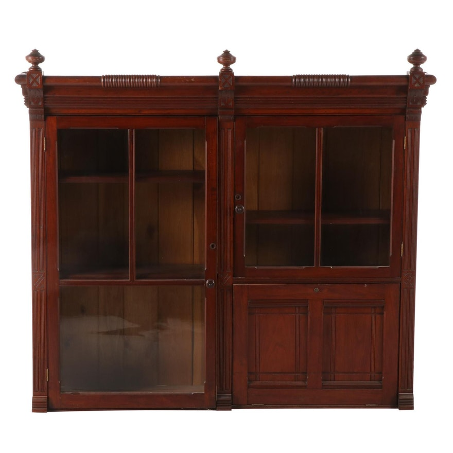 Victorian Walnut Bookcase, Late 19th Century