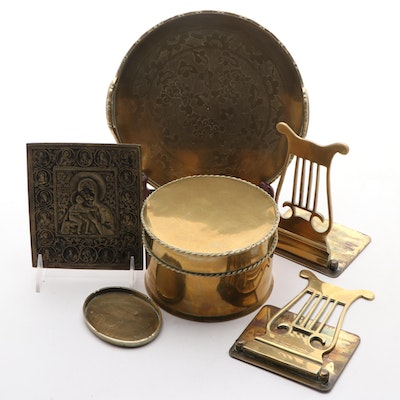 Brass Lyre Form Bookends with Chased Brass Tray, Trinket Dish, and More