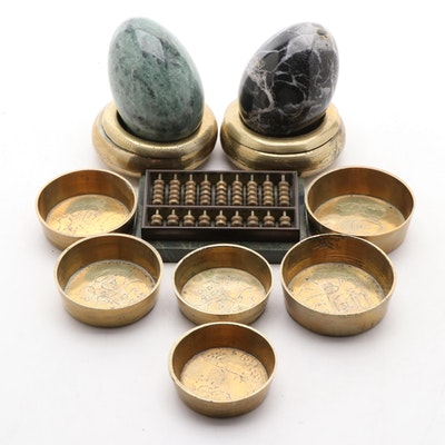Abacus, Marble Eggs, and Brass Nested Dishes