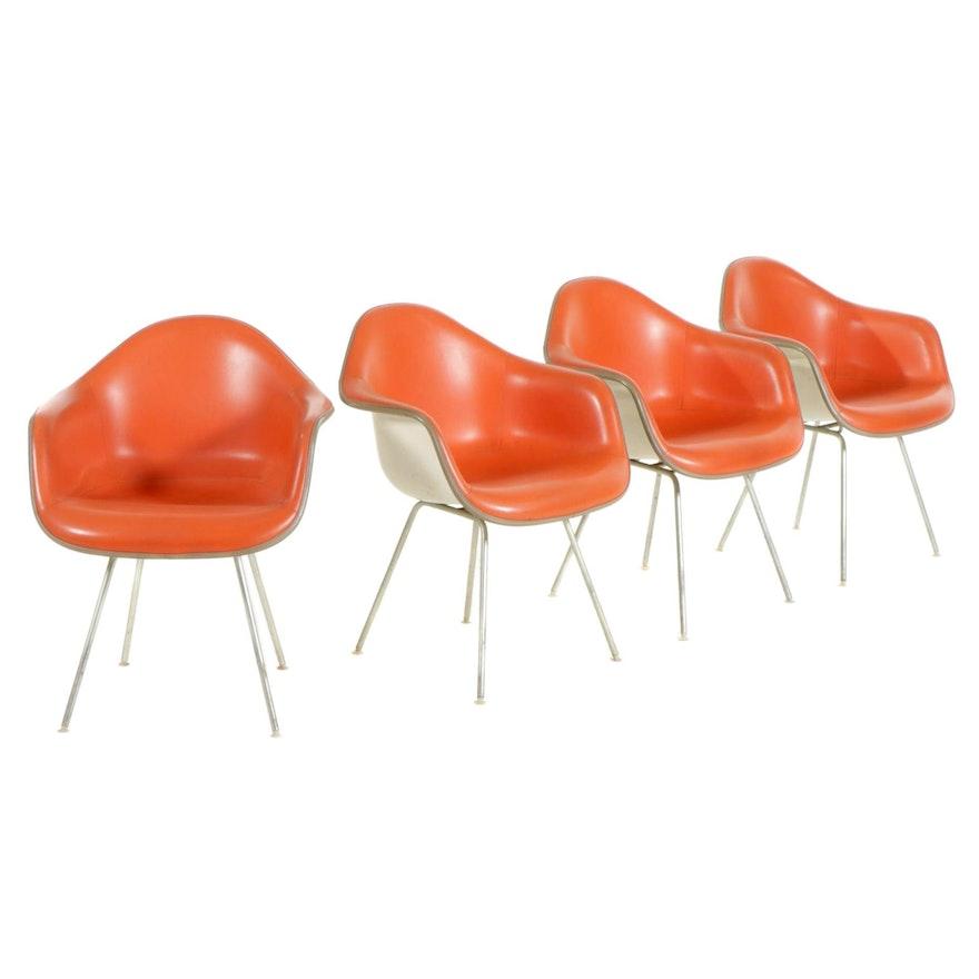 Eames for Herman Miller Mid Century Modern Padded Fiberglass Armchairs, 1970