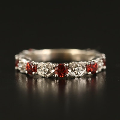 Gabriel & Co. 14K Garnet and Diamond Band