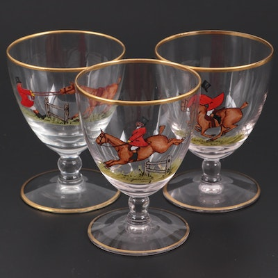 Hand-Painted Fox Hunting Comical Decorated Glass Goblets, Mid-Late 20th Century