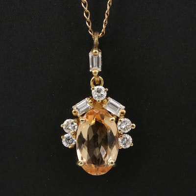 18K Topaz and Diamond Pendant with Curb Chain