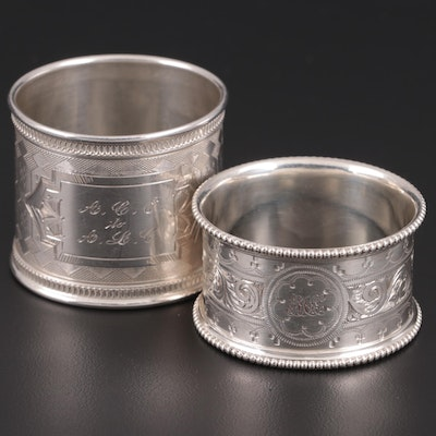 Chased Sterling Silver and 850 Silver Napkin Rings, Late 19th/ Early 20th C.