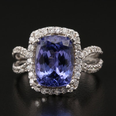 14K 3.71 CT Tanzanite and Diamond Halo Ring