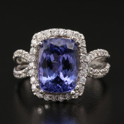 14K 3.71 CT Tanzanite and Diamond Halo Ring