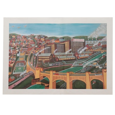 Kathleen Ferri Offset Lithograph of Pittsburgh, 21st Century