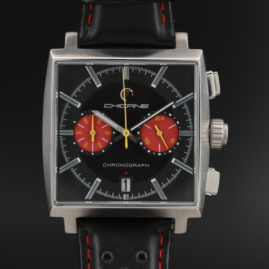 "Motor Time ""Chicane Racer"" Chronograph Stainless Steel Quartz Wristwatch"