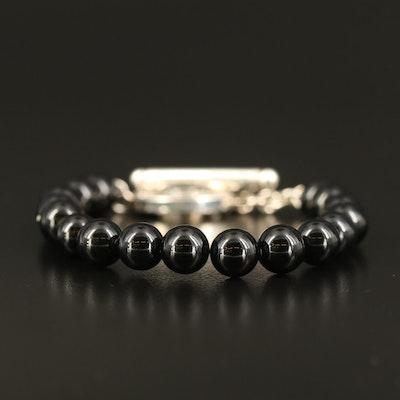 Tiffany & Co. Sterling Black Onyx Bead Bracelet