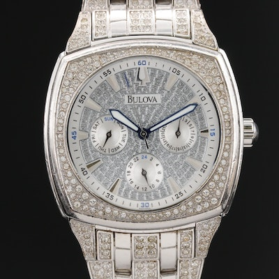 "Bulova ""Phantom"" Stainless Steel and Swarovski Crystal Quartz Wristwatch"