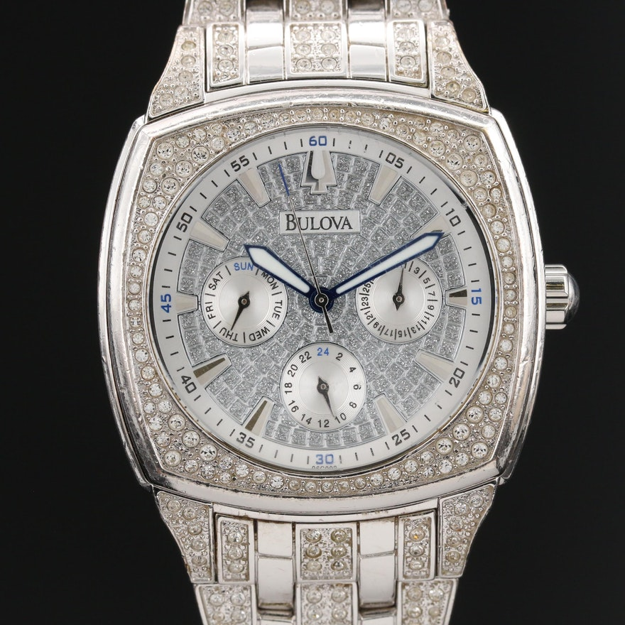 """Bulova """"Phantom"""" Stainless Steel and Swarovski Crystal Quartz Wristwatch"""