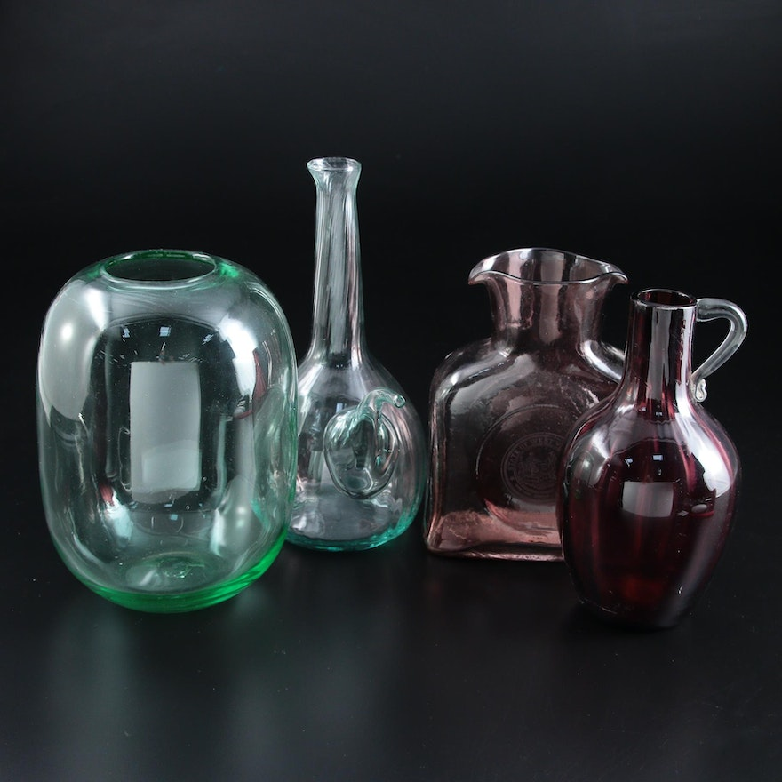 Blenko Square Pitcher Decanter with West Virginia State Seal and Other Glass