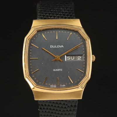 1982 Bulova Day-Date Gold Tone Quartz Wristwatch