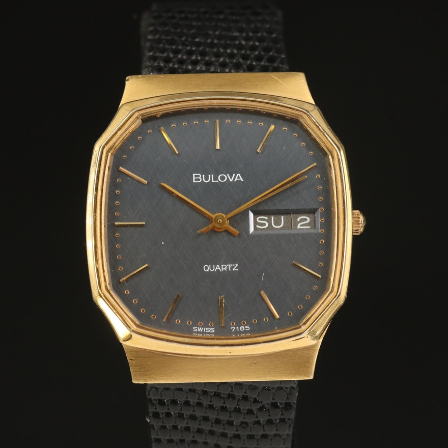 1982 Bulova Day-Date Gold Tone Quartz Wristwatch