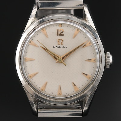 1952 Omega Stainless Steel Stem Wind Wristwatch