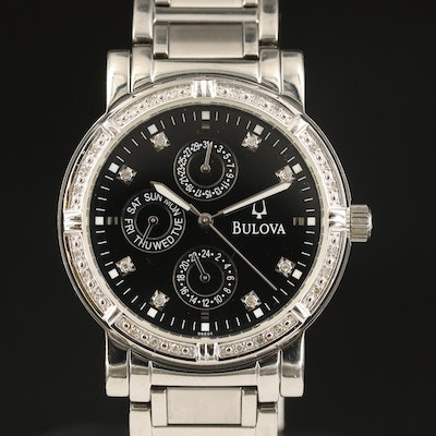 Bulova Stainless Steel Diamond Multifunction Quartz Wristwatch