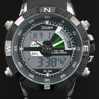 Stauer Analog Digital Multi-Function Quartz Wrtistwatch