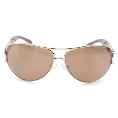Bulgari Embellished 6012-B Aviator Sunglasses with Case
