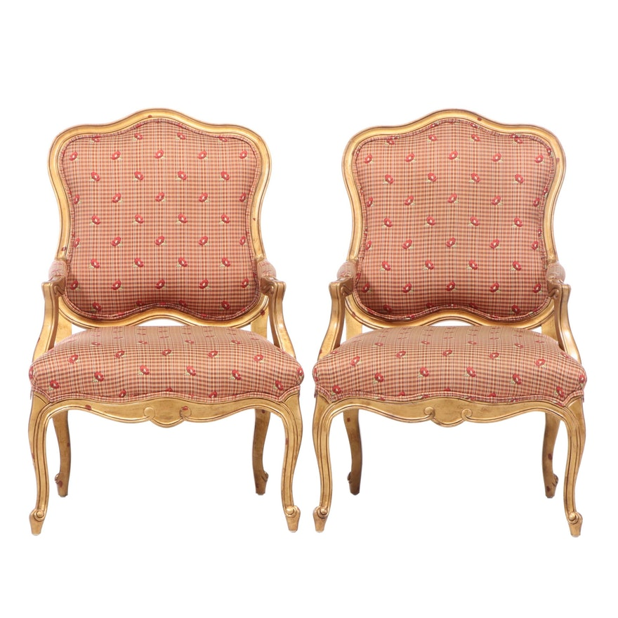 Pair of Drexel Heritage Louis XV Style Giltwood Fauteuils