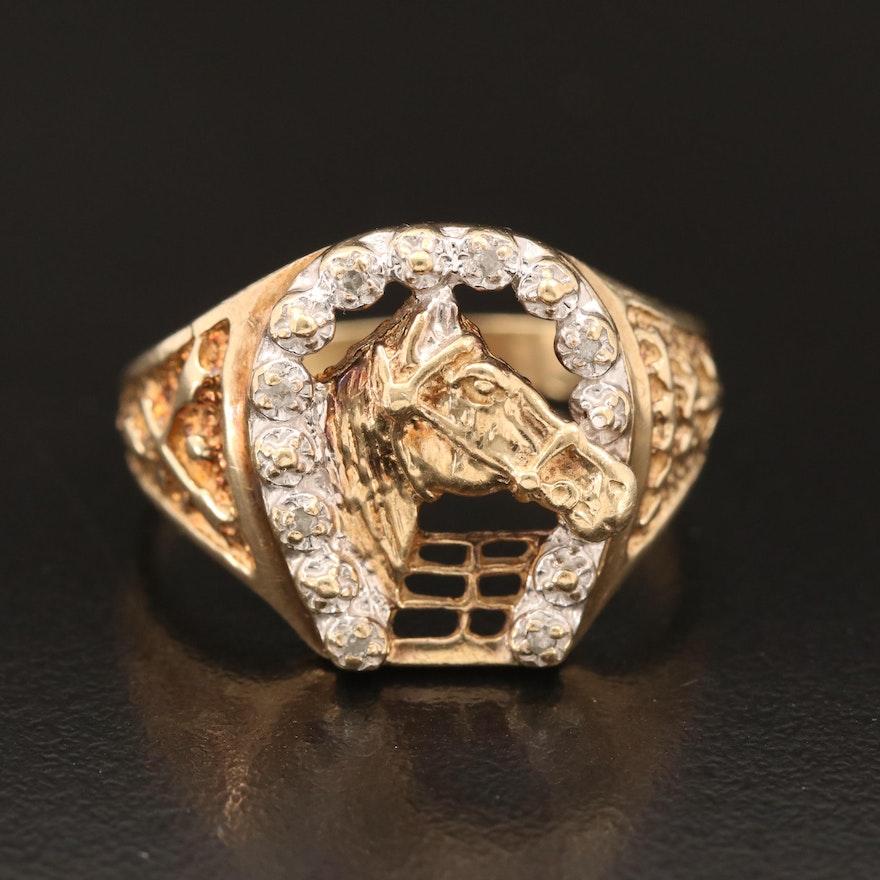 10K Diamond Lucky Horseshoe Ring