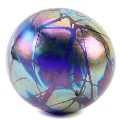 Intaglio Anton Iridescent Art Glass Paperweight