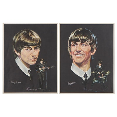 Offset Lithographs of Ringo Starr and George Harrison, Late 20th Century