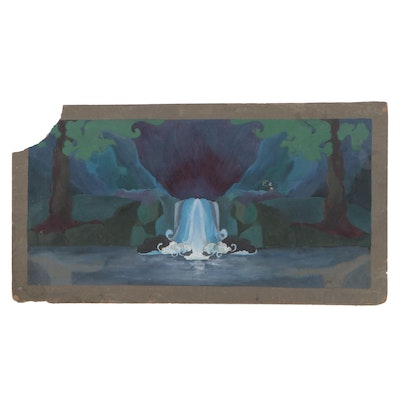 Landscape Gouache Illustration with Waterfall, 1928