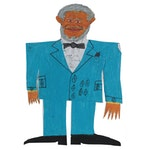 """Charlie Wallace Outsider Art Mixed Media Paper Cut Out """"Redd Foxx"""""""