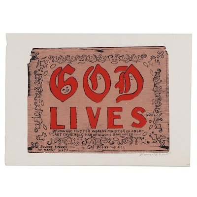 "Howard Finster Serigraph Print ""God Lives Now"""