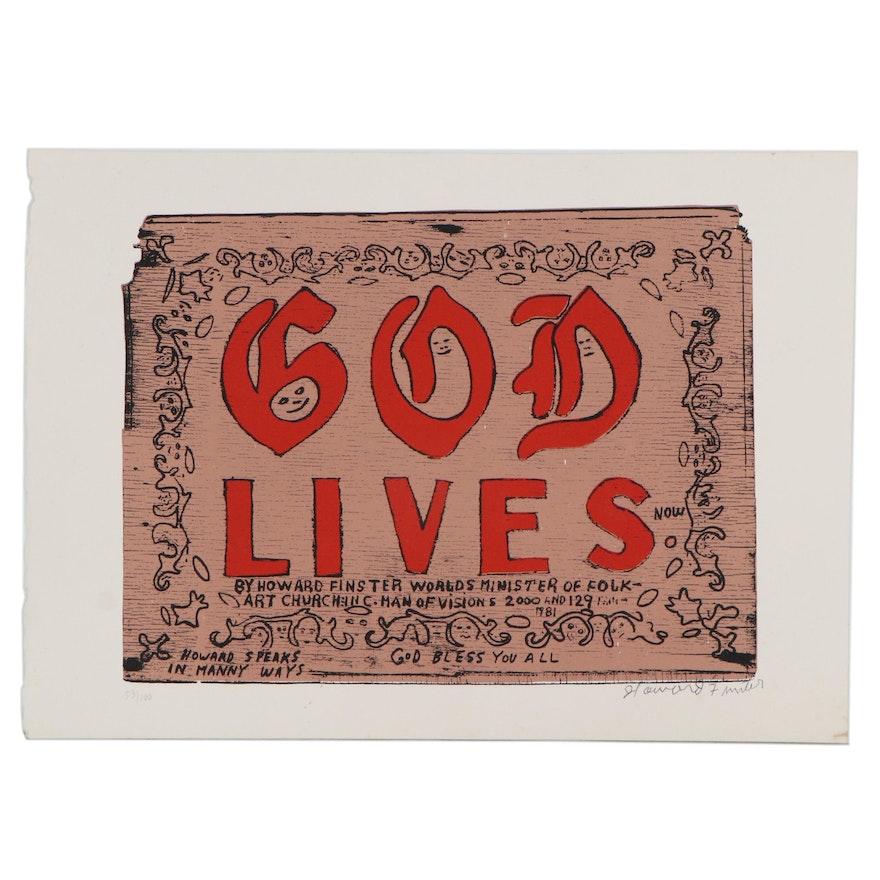"""Howard Finster Serigraph Print """"God Lives Now"""""""