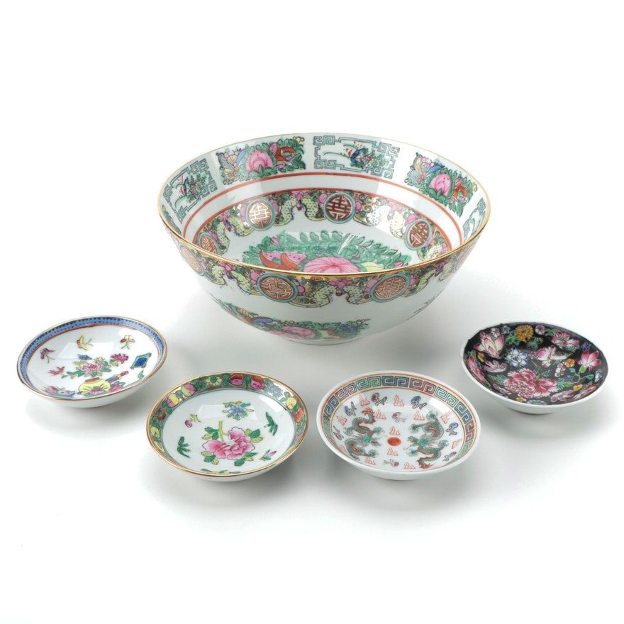 ACF Hong Kong Decorated Rose Canton Style Porcelain Bowl and Chinese Dishes