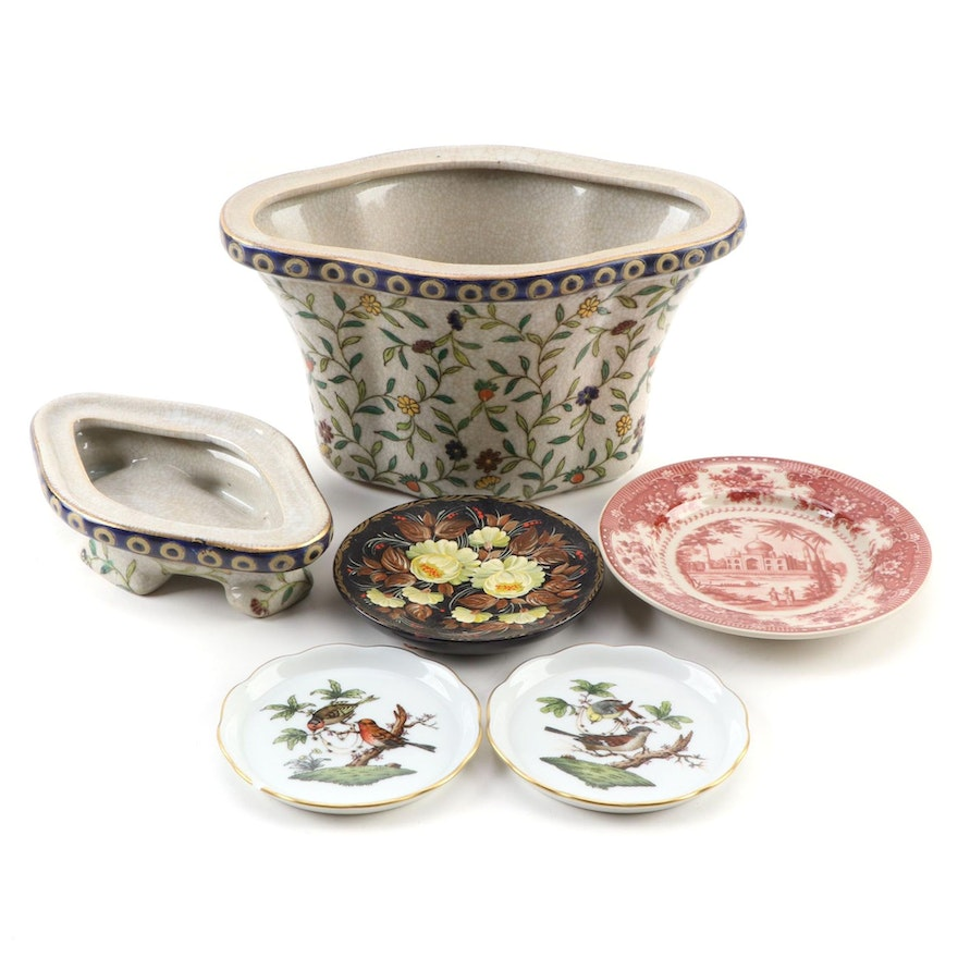 "Herend ""Rothschild Bird"" Porcelain Coasters with Ceramic Planter and More"