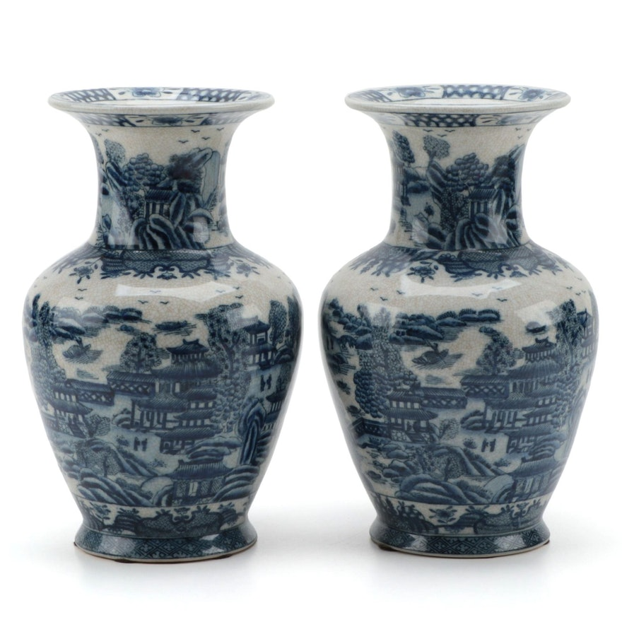United Wilson Chinese Canton Style Blue and White Ceramic Vases
