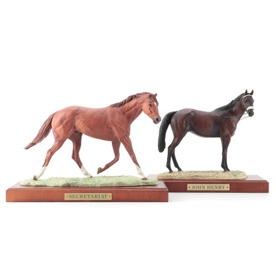 "D. Rene Rushing Cold Cast Porcelain ""Secretariat"" and ""John Henry"" Figurines"