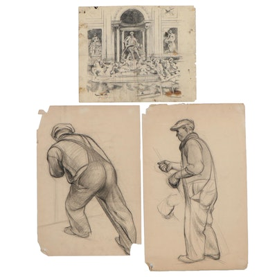 Edgar Yaeger Figural Charcoal Sketches and Fountain Drawing