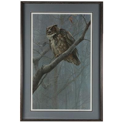 """Robert Bateman Offset Lithograph """"Winter Mist Great Horned Owl"""""""