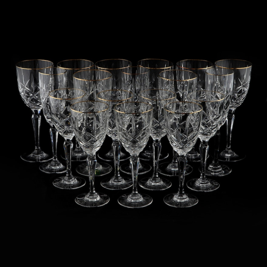 """Marquis by Waterford """"Chelsea"""" Gold Trimmed Crystal Stemware, 1991–1997"""