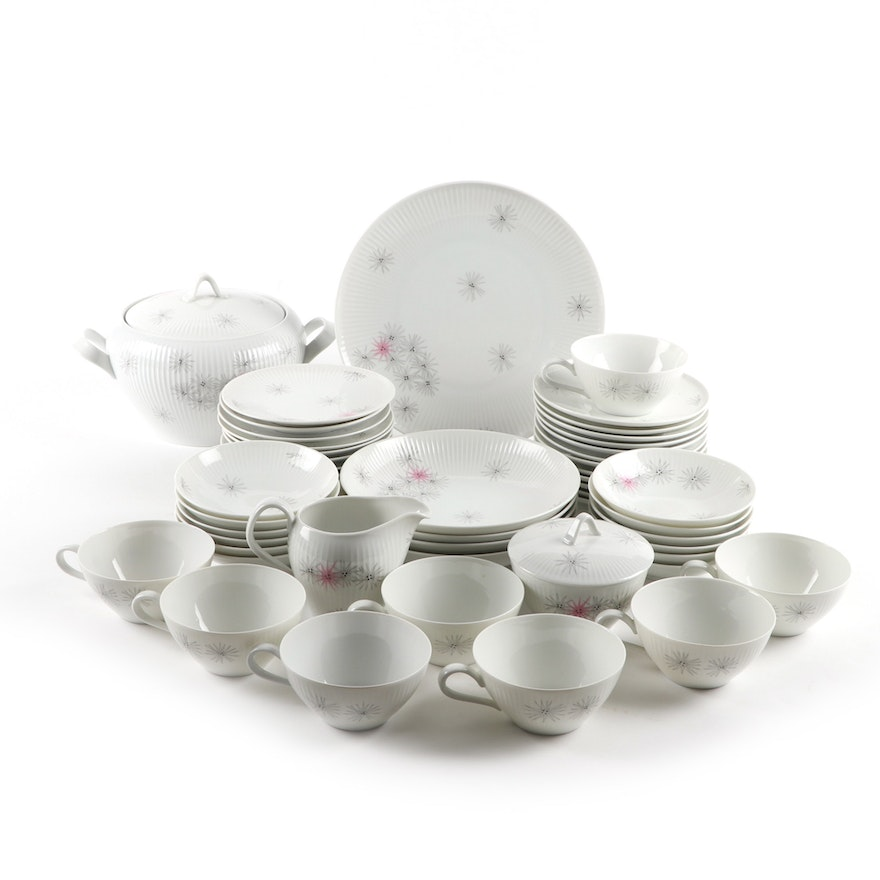 Thomas Pink and Gray Starburst Porcelain Dinnerware, Mid-20th Century