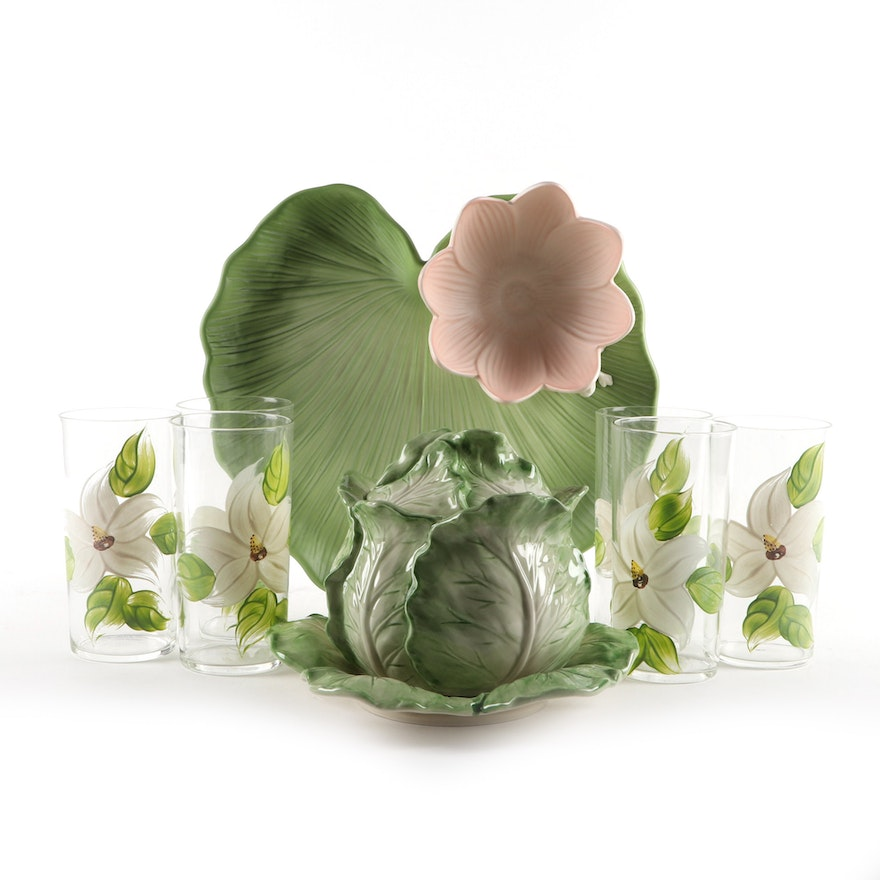 Fitz and Floyd Lotus Snack Tray, Tureen and Federal Glass Floral Tumblers