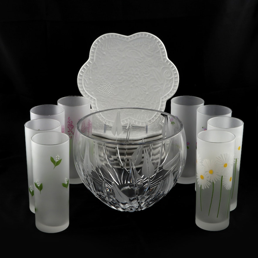 Studio Nora Salad Plates, Frosted Floral Tumblers and Crystal Serving Bowl