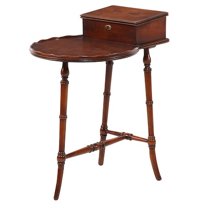 Diminutive Colonial Style Walnut and Brass Locking Side Table