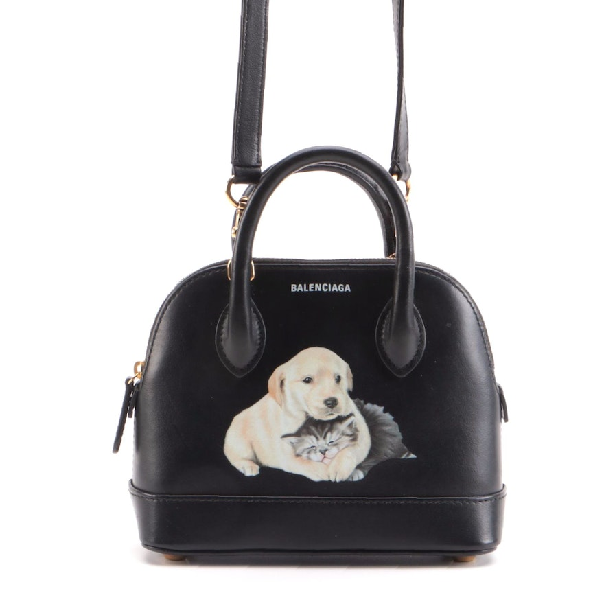 Balenciaga Logo Ville XXS Puppy and Kitten Printed Black Leather Two-Way Bag