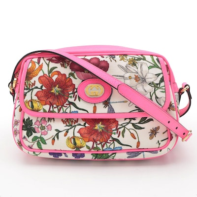 Gucci Flora Gothic Small Crossbody Bag with Fuchsia Fluo Leather