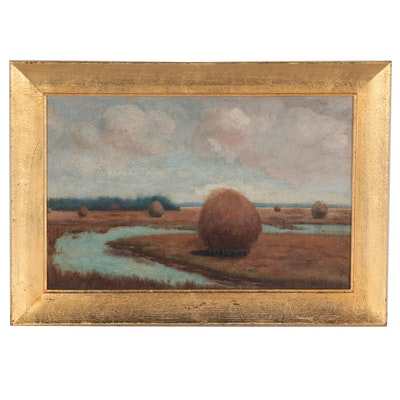 Landscape Oil Painting of Haystacks, Early 20th Century