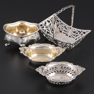 Gorham Sterling Silver Nut Dishes with English Sterling Salt Cellar and Basket