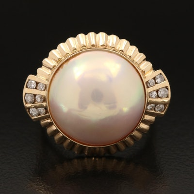 18K Round Mabé Pearl and Diamond Ring