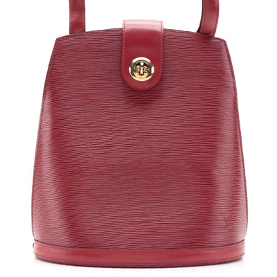 Louis Vuitton Cluny Bucket Bag in Red Castilian Epi and Smooth Leather