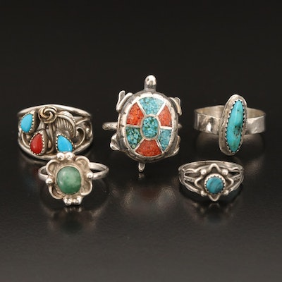 Southwestern Rings Including Turquoise, Aventurine and Stone Inlay