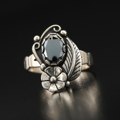Southwestern Sterling Hematite Flower and Feather Ring